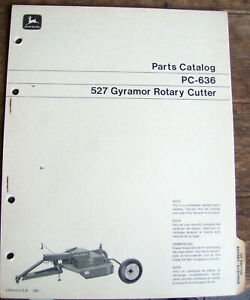 John Deere Pc 636 Parts Manual 527 Gyramor Rotary Cutter Lot 81 s