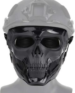 Skull Airsoft Tactical Paintball Protective Combat Helmet Face Mask Black $24.97