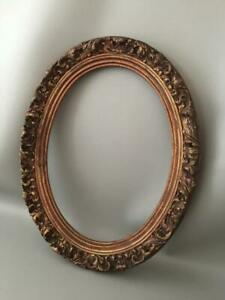 Antique Shabby Vtg Chic Gold Gilt Wood Gesso Wall Oval Picture Frame
