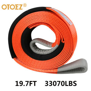 Heavy Duty 3 x20 Tow Recovery Strap 33 000lb Break Strength W Protective Loop