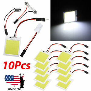 10x 48 Smd Cob White Panel Led T10 Ba9s Car Interior Panel Light Dome Lamp Bulbs
