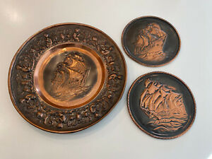 Vintage Copper Brass Embossed Wall Plates Sailing Ships Boats Set Of 3