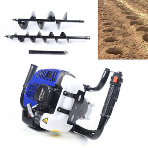 52cc Gas Power Earth Auger Fence Post Hole Digger 4 8 Drills 12 Extension Bar