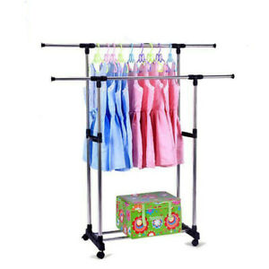 Adjustable Double bar Wheels Rolling Garment Rack Rail Clothes Dry Hanger
