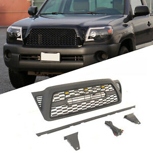 Front Hood Grille For Toyota Tacoma 2005 2011 Matte Black Bumper Withlight Letter Fits 2007 Toyota Tacoma