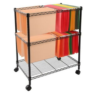 2 tier Metal Rolling File Cart Letter Storage Rack With 4 Wheels Office Supplies