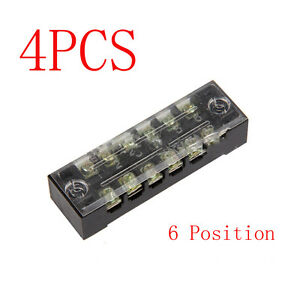 4pcs Block strip 6 Position 15a 600v Wire Barrier Dual Row Screw Terminal Panel
