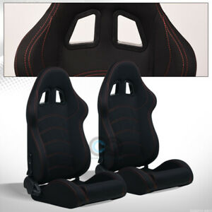 Universal T R Black Woven Cloth Reclinable Racing Bucket Seats Slider Pair C01a