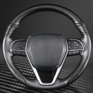 Carbon Fiber leather Steering Wheel Stitch On Wrap Cover For Toyota Camry 18 21