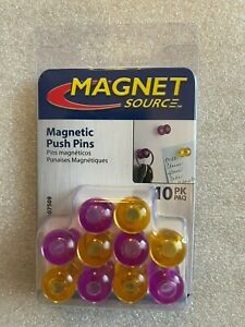 Push Pin Magnets 10 ct Purple And Yellow