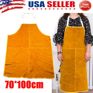 Leather Welding Apron Heat Resistant Work Safety Insulated Bib 27 39inch Us