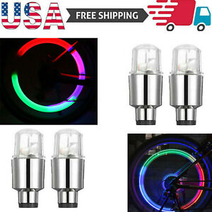 4 8x Led Wheels Tire Air Valve Stem Caps Green Red Neon Light For Car Motor Bike