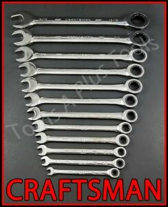 Craftsman Hand Tools 12pc Full Polish Sae 72 Tooth Ratcheting Box Wrench Set