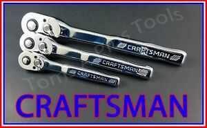 Craftsman Tools 3pc 1 4 3 8 1 2 Full Polish 72 Tooth Ratchet Socket Wrench Set