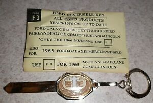 Vintage Uncut 1956 Up Ford Key Blank Key Chain Galaxie Mercury Mustang Fairlane