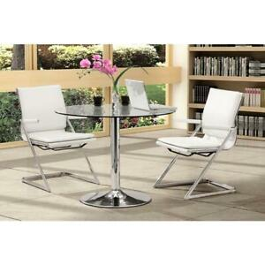 Lider Plus Conference Office Chair White Leatherette Chromed Steel Frame 2 Set