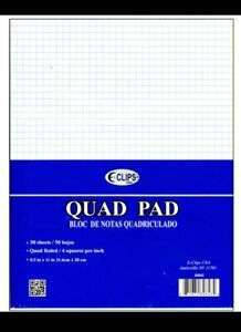 2 Notepads Graph Ruled Note Pad Paper 4 Sq Per In 8 5 X 11 Quad New 50 Sheet Ea