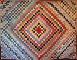 Vintage Quilt Multi Colored Antique Trip Around The World All By Hand