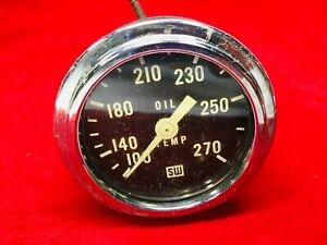 Vintage Stewart Warner Oil Temperature Gauge 361 A 72 100 270f Tested Working