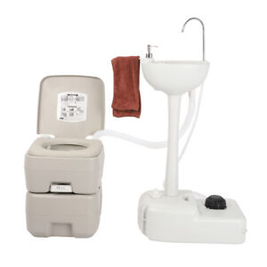 19l Portable Camping Sink Station Hand Wash Stand With 20l Flush Toilet Outdoor
