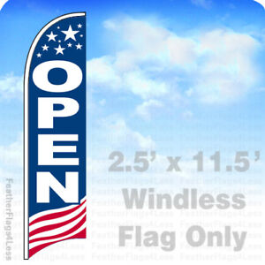 Open Windless Swooper Feather Flag 2 5x11 5 Banner Sign Usa Bb