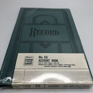 Vintage Boorum Pease Company No 66 Account Book Green New Record Keeping 9 3 4