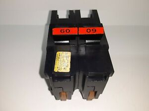 Fpe Federal Pacific Na260 Stab lok 60 Amp 2 Pole Circuit Breaker Thick Red