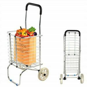 Vilobos Folding Shopping Utility Cart Aluminum Collapsible Laundry Grocery Dolly