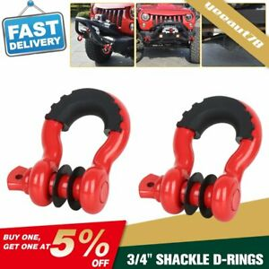 2x 3 4 D Ring Shackles 4 75 Ton Red Bow W Black Isolators Washer Clevis Kit Us