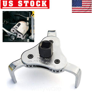 2 Way Oil Filter Wrench Adjustable Universal 3 Jaw Remover Socket 1 2 3 8 Drive