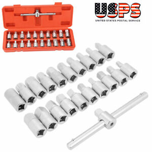 3 8inch Oil Drain Plug Sump Slid able T handle Socket Wrench Set Oil Change Tool