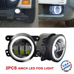2pcs 4 Inch Led Fog Light Projector Halo Ring For Jeep Grand Cherokee Wrangler