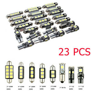 23pc Led Canbus Car Interior Inside Light Dome Trunk Map License Plate Lamp Bulb