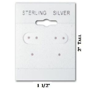 100pc Earring Cards Sterling Silver Earring Cards White Jewelry Cards Hanging