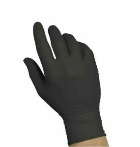 100 piece Large Black Nitrile Rubber Gloves Latex Powder free By Strong
