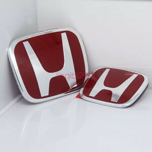 2x 06 15 For Honda Civic 4dr Sedan Jdm Red H Type R Front Rear Emblem Ex Si