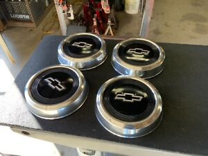 Nos 1984 Chevrolet Dog Dish Style Black Chrome Set Hubcaps Itt Thompson 10 5