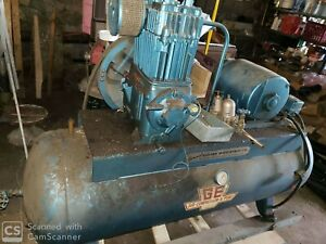Quincy Ge Compressor 100 Gal Tank 5hp 3 Phase Motor Working