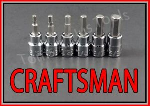 Craftsman Hand Tools 6pc 3 8 Sae Hex Allen Key Bit Ratchet Wrench Socket Set
