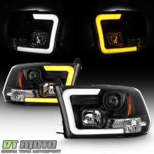 2009 2018 Dodge Ram 1500 2500 3500 Led Drl Tube Switchback Projector Headlights