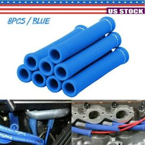 8pcs Blue 2500 Spark Plug Wire Boots Heat Shield Protector Sleeve Cover Sbc Bbc