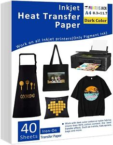 Iron on Heat Transfer Paper For Dark Fabric 40 Pack 8 3x11 7 T shirt Transfer