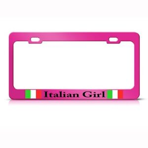 Metal License Plate Frame Italian Girl Italy Pink Car Accessories Chrome