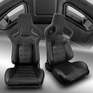 2 X Reclinable Black Pvc Main Leather Left right Racing Bucket Seats Slider