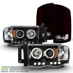 2002 2005 Dodge Ram 1500 Blk Led Halo Projector Headlights Red Smoke Tail Lights