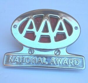 Aaa License Plate Topper 1950s Vintage Original Chrome National Award