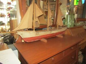 1920 S Rare Antique Model Ship Sailing Boat Hand Made Wood X933