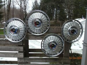 Original 1962 Ford Fairlane Galaxie Set Of 4 Hubcaps Oem Wheel Covers