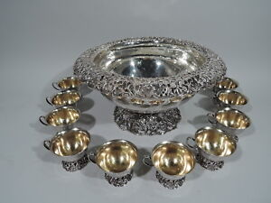 Je Caldwell Punch Bowl Cups Antique Centerpiece American Sterling Silver