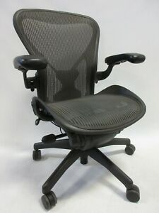 Herman Miller Aeron Chair Size B Fully Adjustable Posture fit In Graphite grey